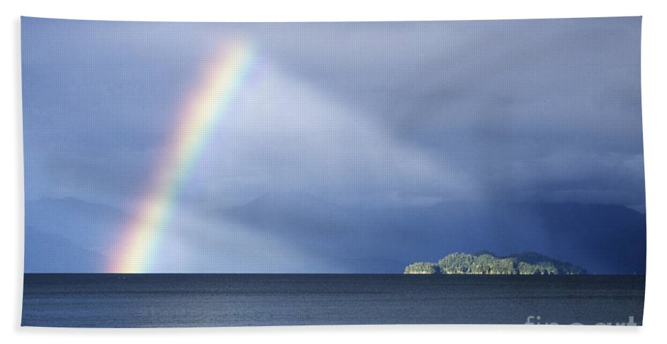 Rainbow Hand Towel featuring the photograph Rainbow Over Lake Todos Santos Chile by James Brunker