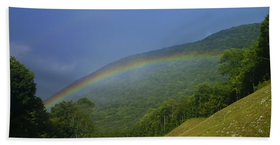 Landscape Hand Towel featuring the digital art rainbow over Maggie valley by Chris Flees