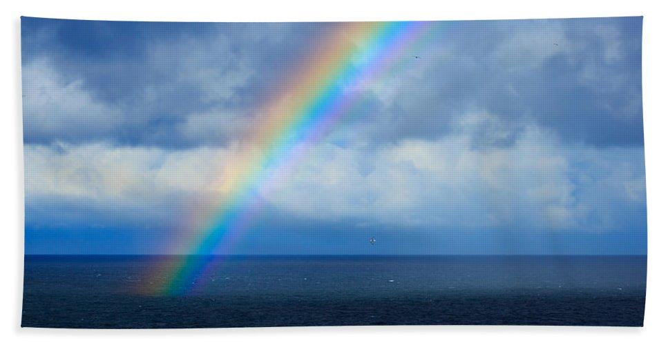 Rainbow Bath Sheet featuring the photograph Rainbow Over The Atlantic Ocean by Louise Heusinkveld