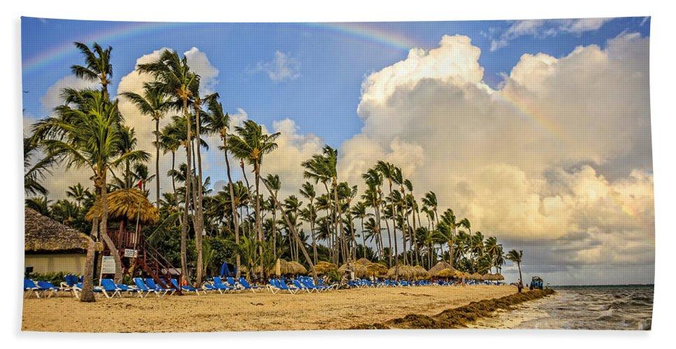 Rainbow Bath Sheet featuring the photograph Rainbow Over The Beach by Viktor Birkus