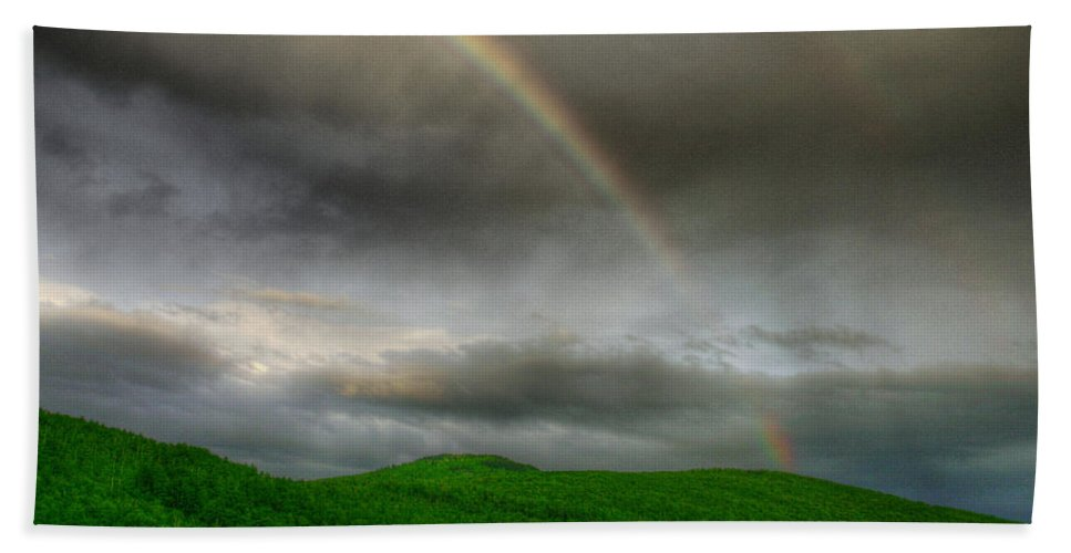 Mountain Bath Sheet featuring the photograph Rainbow Over The Mahoosucs by Wayne King