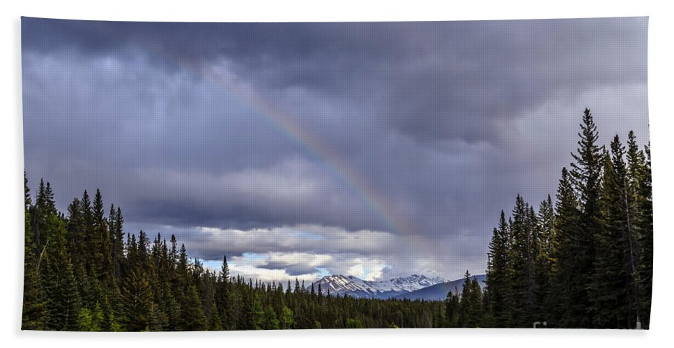 Alberta Bath Sheet featuring the photograph Rainbow Over The Mountains by Viktor Birkus
