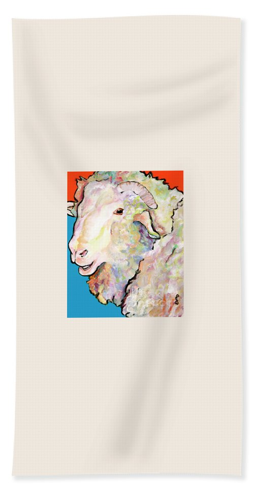 Pat Saunders-white Bath Towel featuring the painting Rainbow Ram by Pat Saunders-White