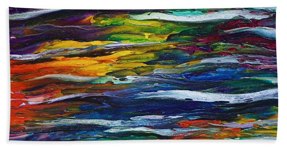 Surreal Reflection On Water Hand Towel featuring the painting Rainbow Ripple by Les Lyden
