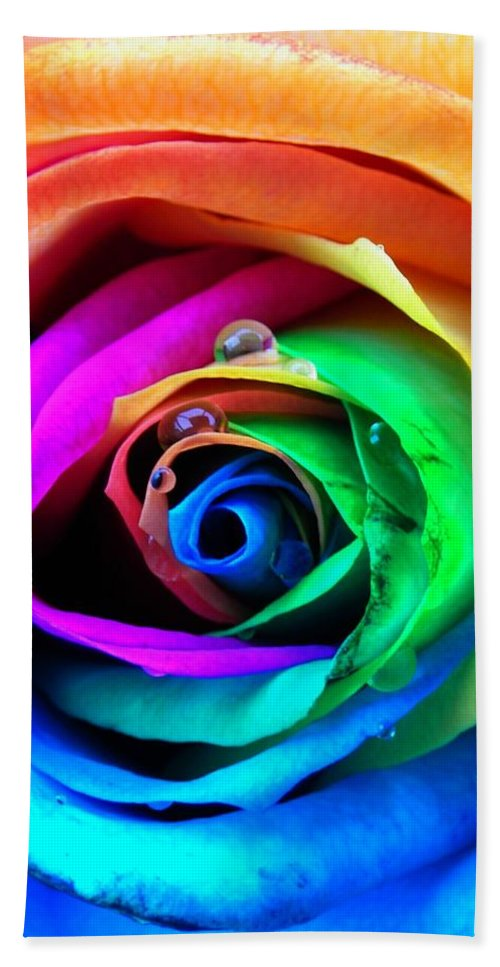 Rainbow Hand Towel featuring the photograph Rainbow Rose by Juergen Weiss