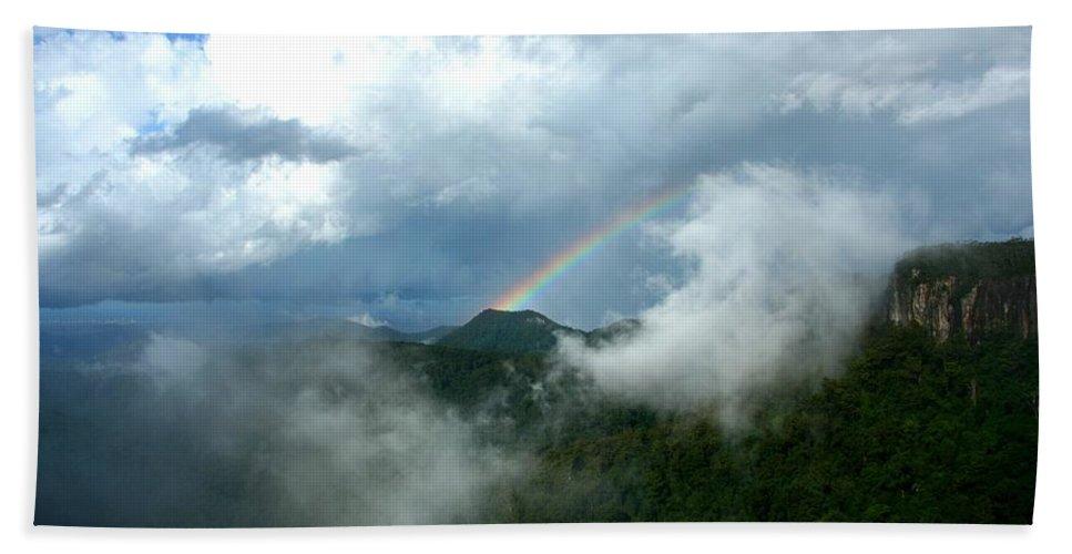 Spectrum Hand Towel featuring the photograph Rainbow Shrouded In Mist by Darren Burton