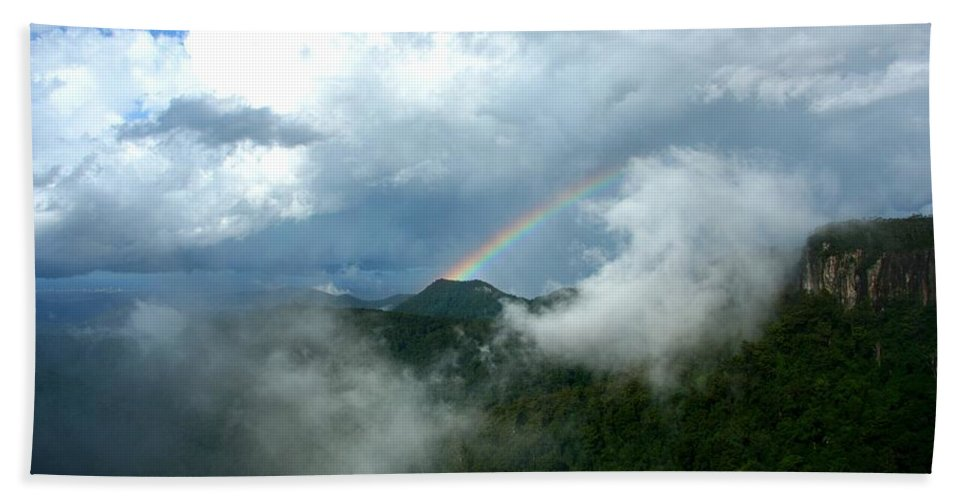 Spectrum Bath Sheet featuring the photograph Rainbow Shrouded In Mist by Darren Burton