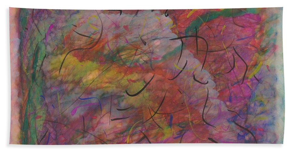 Abstract Hand Towel featuring the painting Rainbow Skies by Myrtle Joy