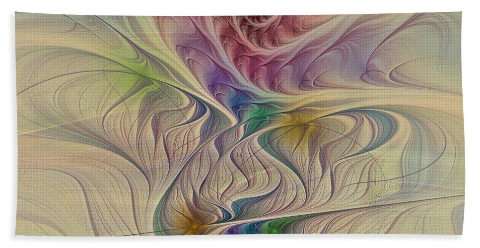 Fractal Hand Towel featuring the digital art Rainbow Spirals by Deborah Benoit