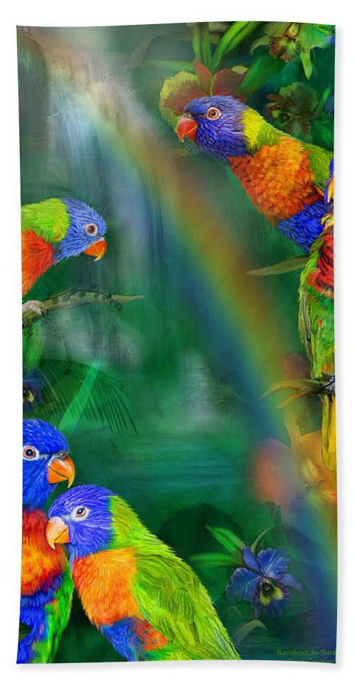 Parrot Hand Towel featuring the mixed media Rainbows In Paradise by Carol Cavalaris