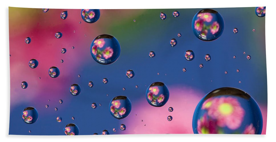 Abstract Bath Sheet featuring the photograph Raindrops And Flowers 7 by John Brueske