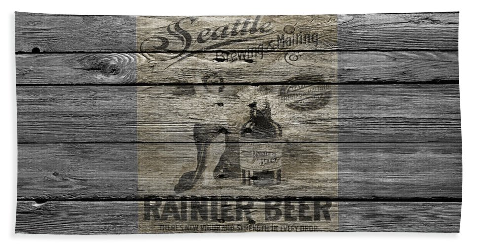 Rainier Beer Hand Towel featuring the photograph Rainier Beer by Joe Hamilton