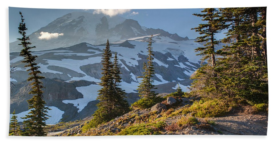 Rainier Hand Towel featuring the photograph Rainier From Paradise Glacier by Mike Reid