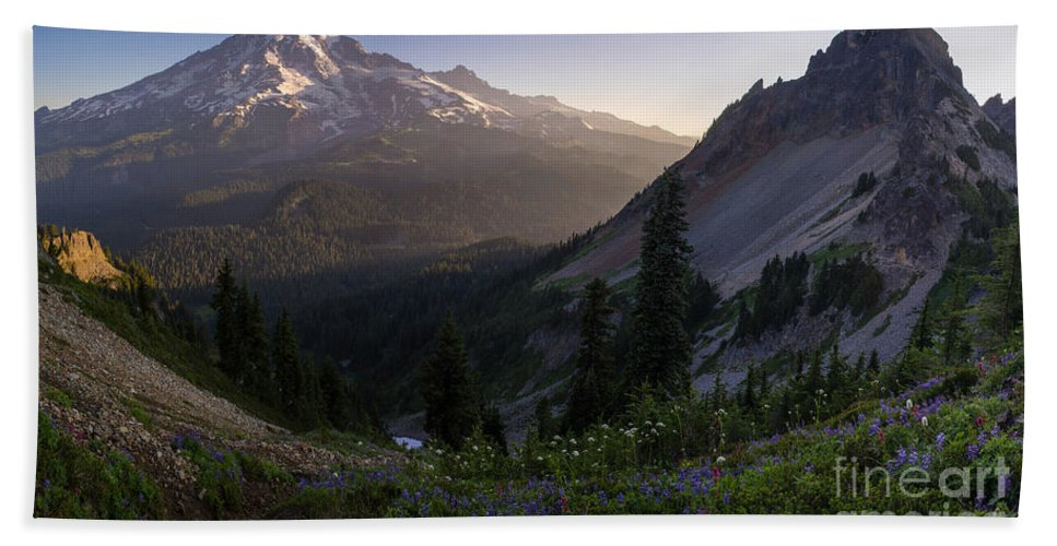 Rainier Hand Towel featuring the photograph Rainier In The Saddle by Mike Reid