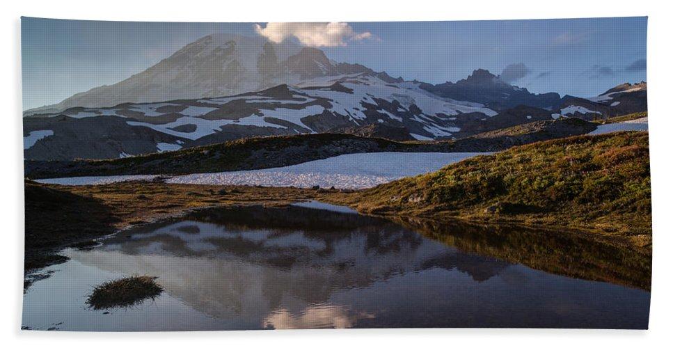 Rainier Hand Towel featuring the photograph Rainier Reflected In A Glacial Tarn by Mike Reid