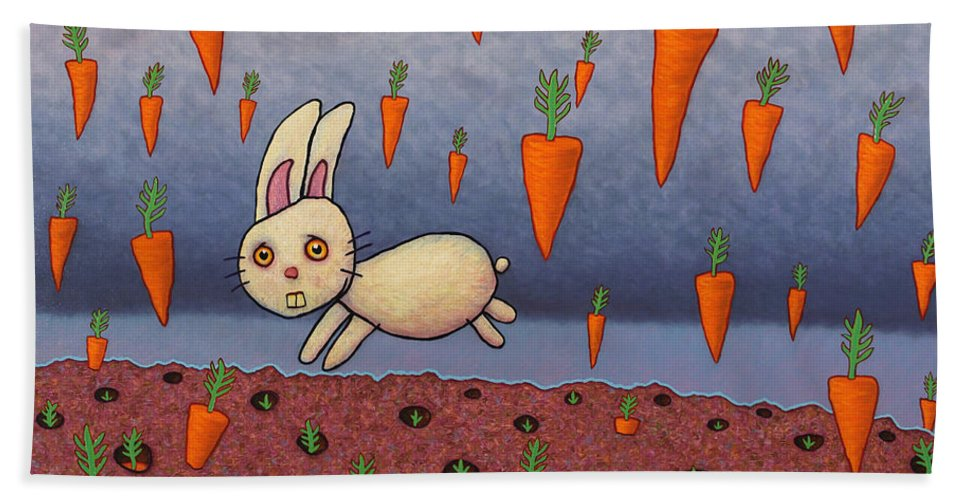Bunny Hand Towel featuring the painting Raining Carrots by James W Johnson