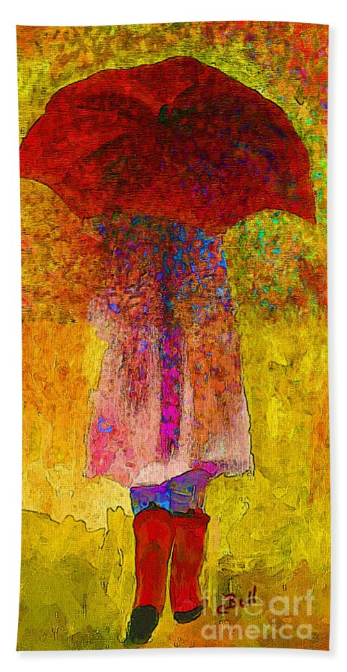 Red Umbrella Hand Towel featuring the painting Raining Sunshine by Claire Bull