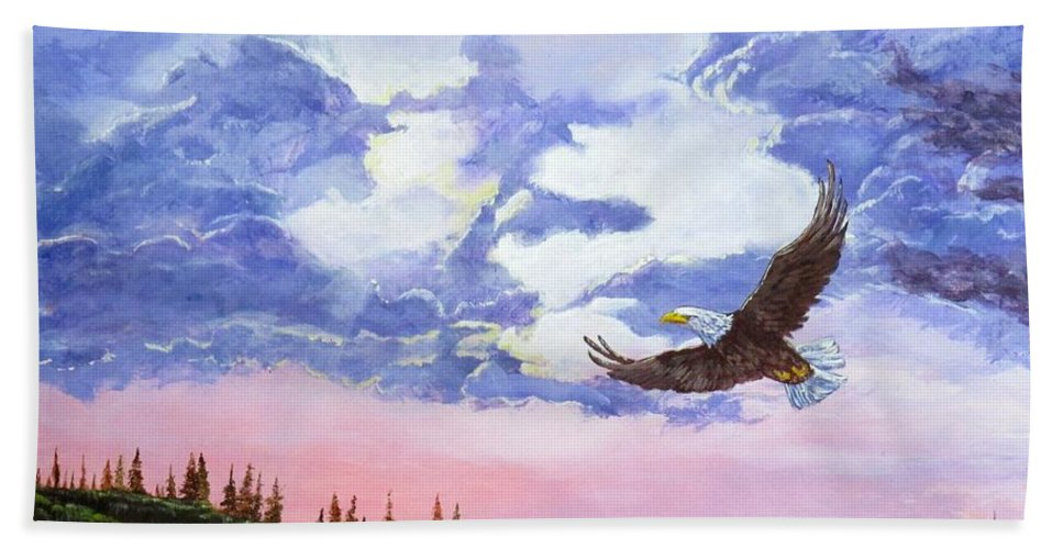 Mountain Tree Line Eagle Hand Towel featuring the painting Rains Over by Michael Dillon