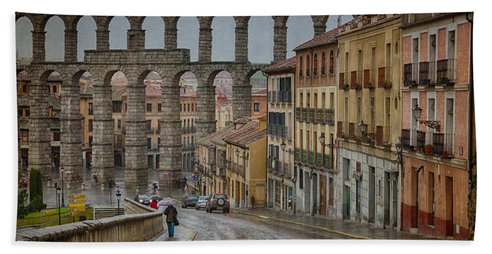 Ancient Bath Sheet featuring the photograph Rainy Afternoon In Segovia by Joan Carroll