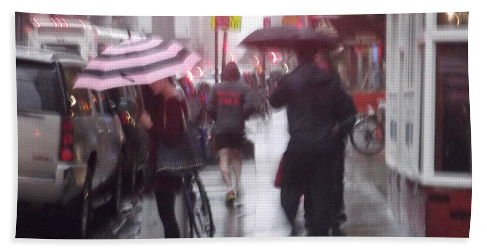 Streetscape Hand Towel featuring the photograph Rainy Corner - New York City by Miriam Danar