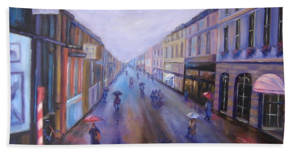 Rainy Day Hand Towel featuring the painting Rainy Day In Heidelberg Germany by Diane Quee