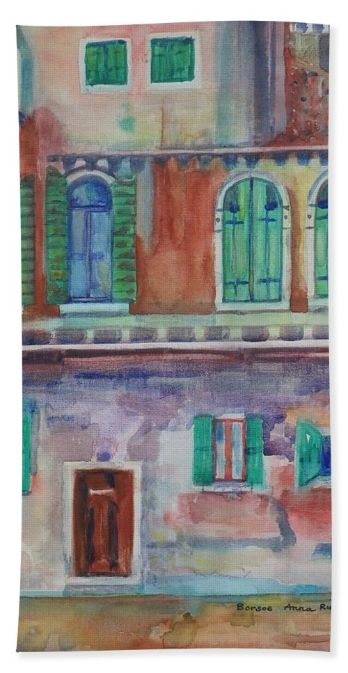 Rain Hand Towel featuring the painting Rainy Day In Venice Italy by Anna Ruzsan