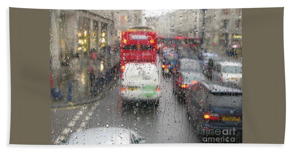 Rainy Day London Traffic By Ann Horn Hand Towel featuring the photograph Rainy Day London Traffic by Ann Horn