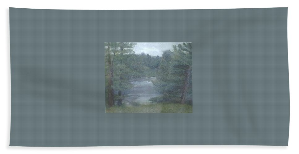 Rainy Bath Towel featuring the painting Rainy Day Plein Aire by Sheila Mashaw