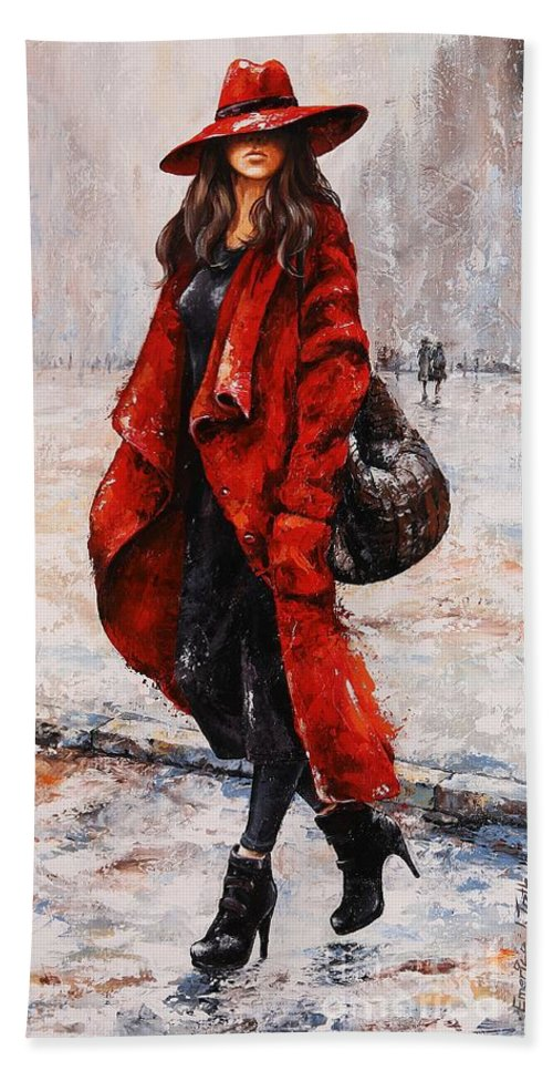 Rain Bath Sheet featuring the painting Rainy Day - Red And Black #2 by Emerico Imre Toth