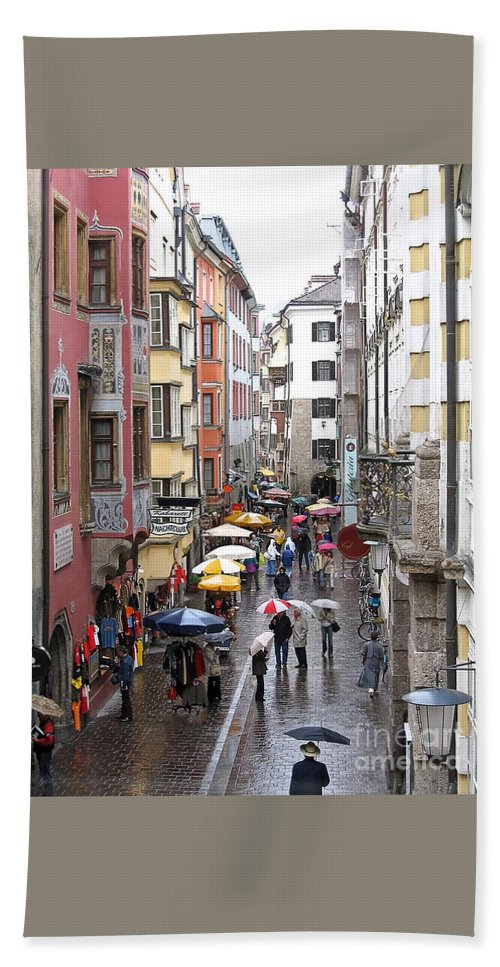 Innsbruck Hand Towel featuring the photograph Rainy Day Shopping by Ann Horn