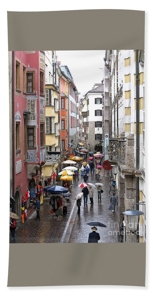 Innsbruck Bath Towel featuring the photograph Rainy Day Shopping by Ann Horn