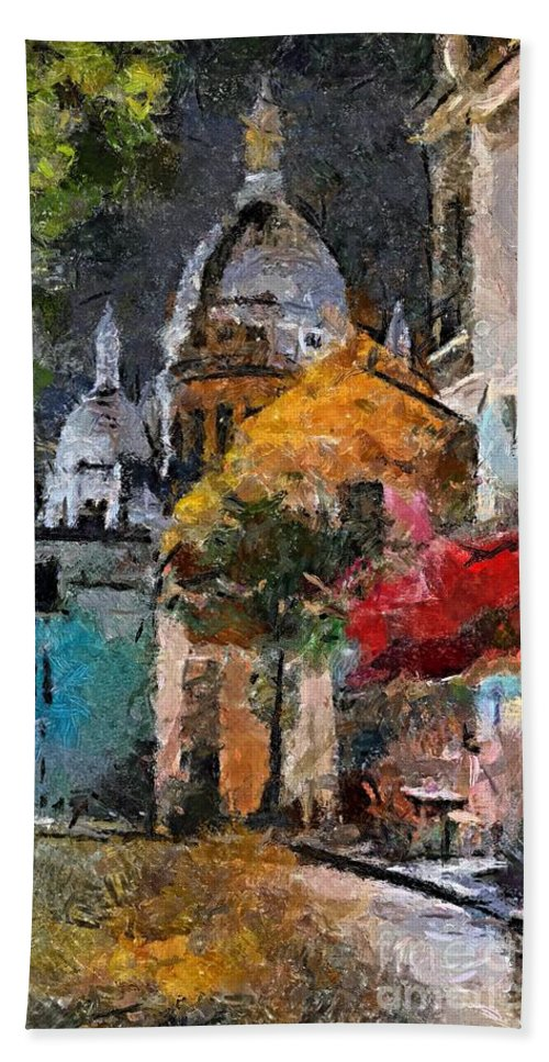 Cityscape Bath Sheet featuring the painting Rainy Evening In Montmartre by Dragica Micki Fortuna