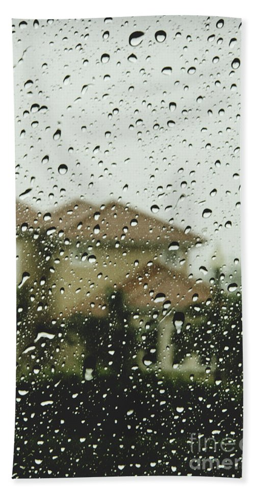House; Home; Mansion; Spanish; Two Story; Floridian; Rain; Raindrops; Wet; Storm; Raining; Glass; Blur; Blurred; Blurry; Outside; Outdoors; Drops Hand Towel featuring the photograph Rainy Tropics by Margie Hurwich