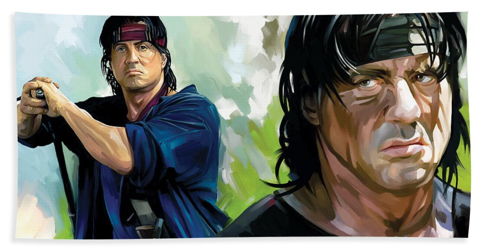 Rambo Paintings Hand Towel featuring the painting Rambo Artwork by Sheraz A