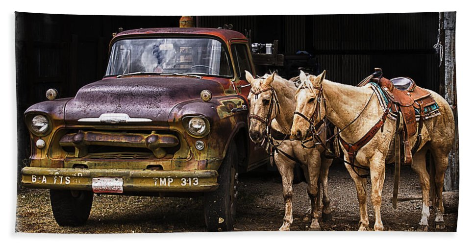 Horses Hand Towel featuring the photograph Ranch Transportation by Priscilla Burgers