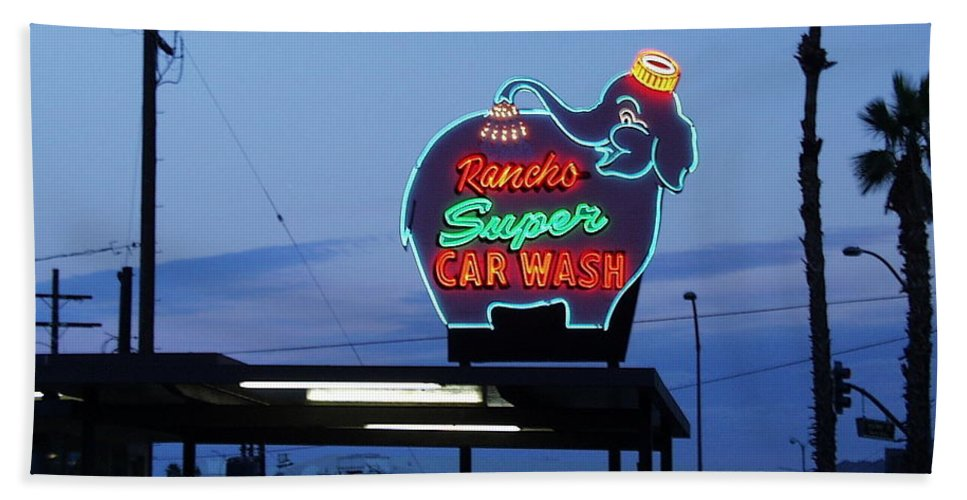 Sunset Hand Towel featuring the photograph Rancho Super Car Wash by Gerry High