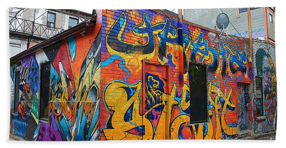 Graffiti Bath Sheet featuring the photograph Rant Alley by Nina Silver