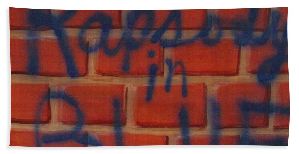 Abstract Hand Towel featuring the painting Rapsody In Blue by Laurie Morgan