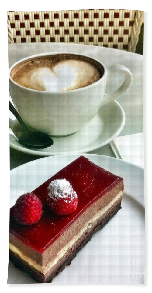 Coffee Bath Sheet featuring the photograph Raspberry Delice And Latte by Susan Garren