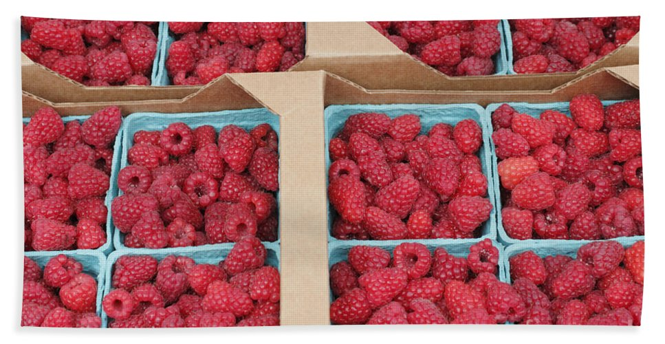 Raspberry Bath Sheet featuring the photograph Raspberry Pints In Cardboard Flats by Lee Serenethos