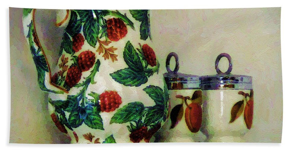 Pitcher Bath Sheet featuring the painting Raspberry Pitcher by RC DeWinter