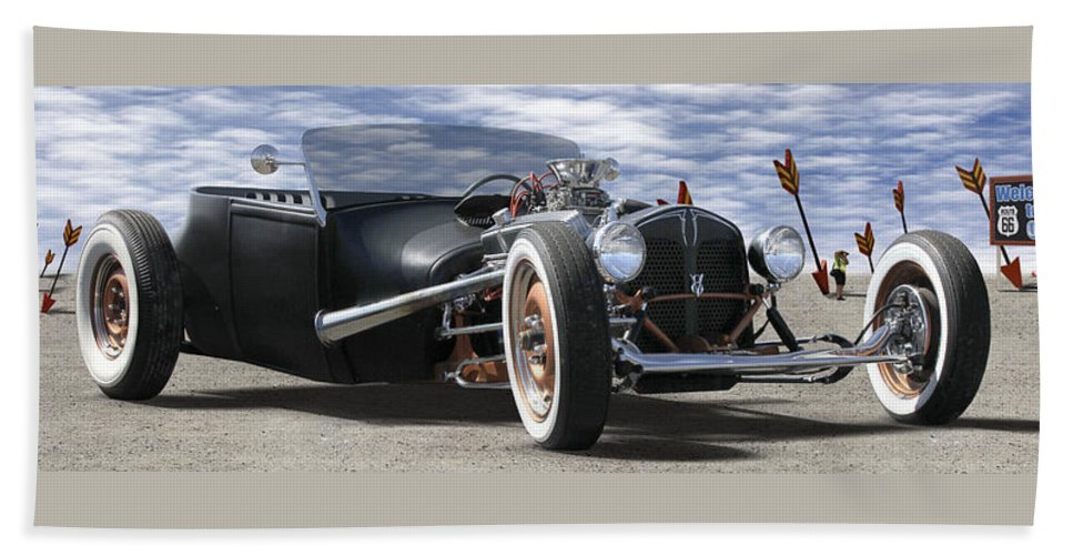 Transportation Hand Towel featuring the photograph Rat Rod On Route 66 2 Panoramic by Mike McGlothlen