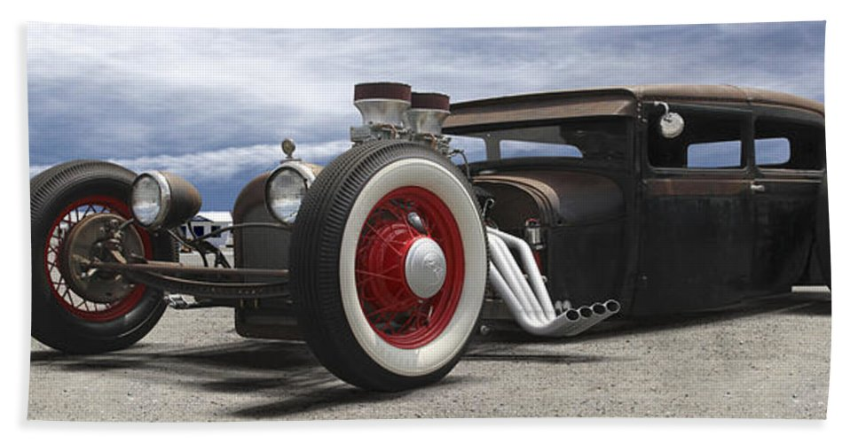 Transportation Hand Towel featuring the photograph Rat Rod On Route 66 Panoramic by Mike McGlothlen