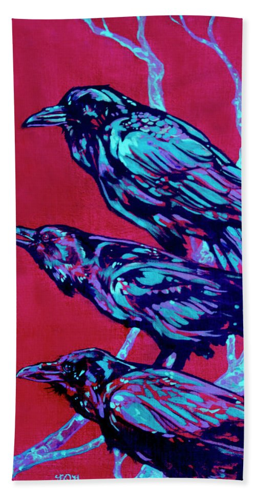 Contemporary Art Hand Towel featuring the painting Raven by Derrick Higgins