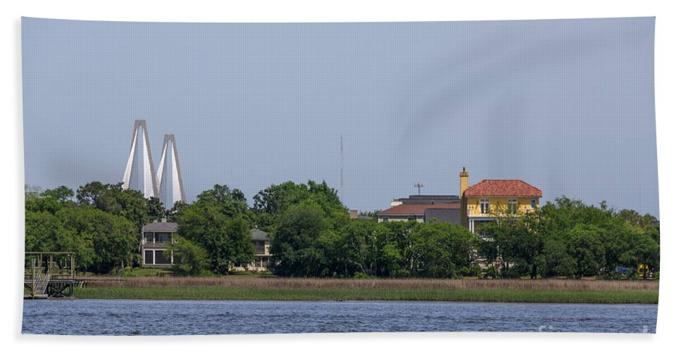 Arthur Ravenel Jr. Bridge Hand Towel featuring the photograph Ravenel Bridge Towers by Dale Powell