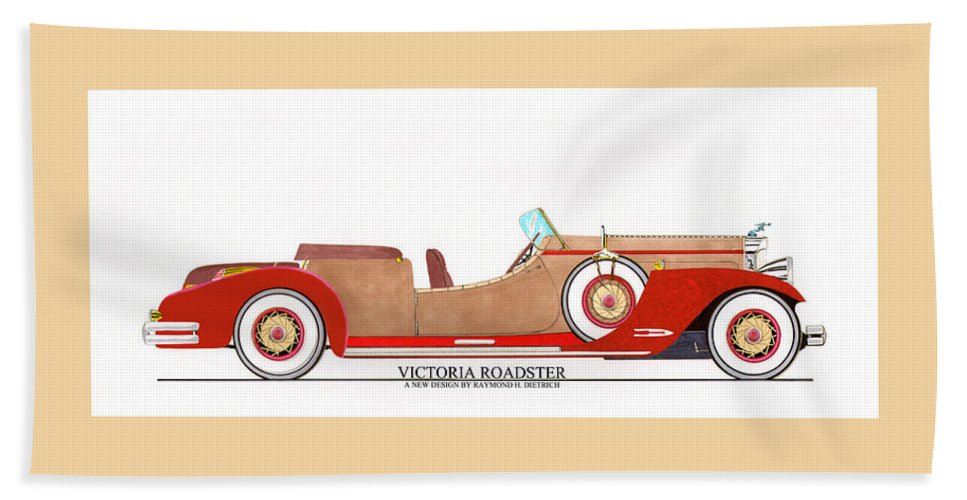 Car Art Bath Sheet featuring the painting Ray Dietrich Packard Victoria Roadster Concept Design by Jack Pumphrey