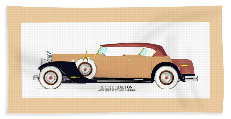 Car Art Bath Sheet featuring the painting Raymond H Dietrich Packard Sport Phaeton Concept by Jack Pumphrey