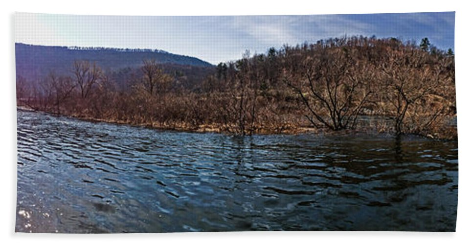 Nature Bath Sheet featuring the photograph The Dam At Raystown Lake by Tom Gari Gallery-Three-Photography