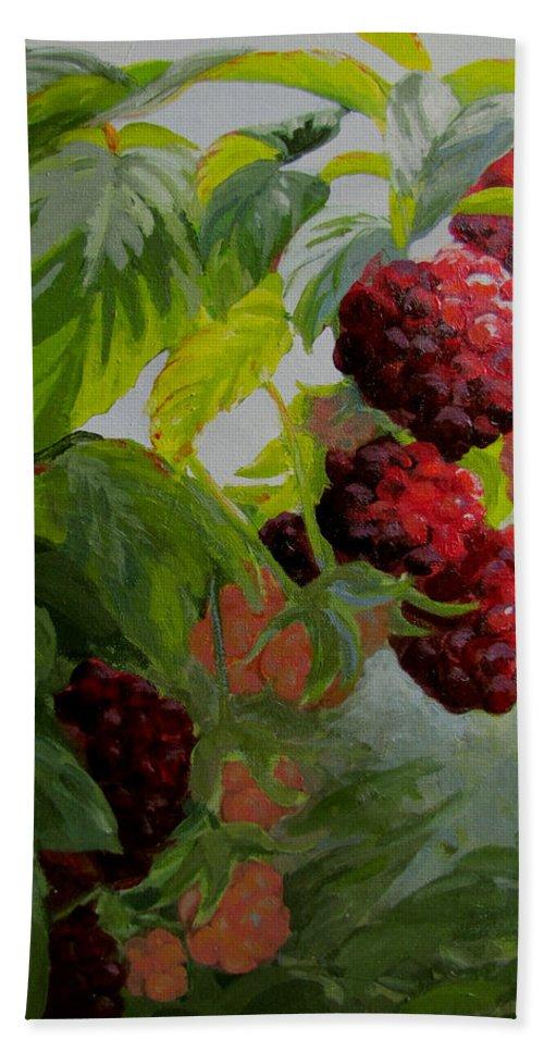 Berries Hand Towel featuring the painting Razzleberries by Karen Ilari