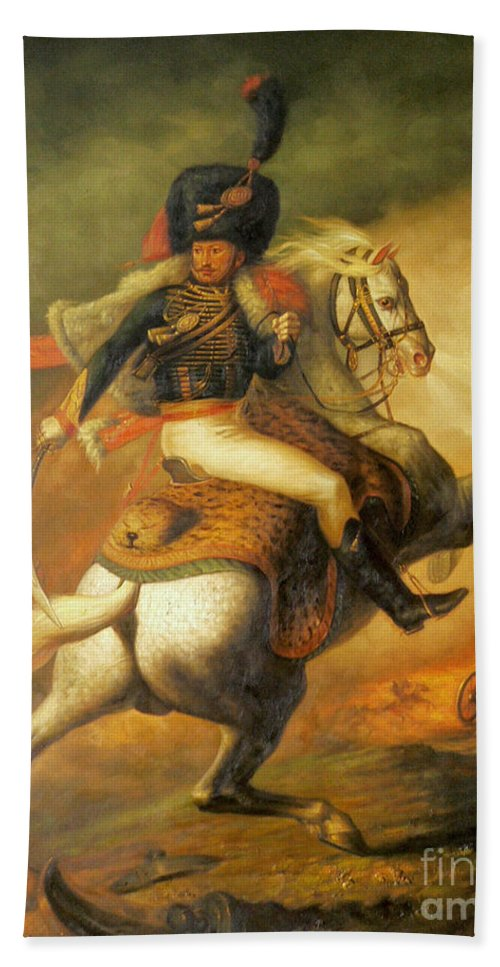 Art Bath Sheet featuring the painting Re Classic Oil Painting General On Canvas#16-2-5-08 by Hongtao   Huang